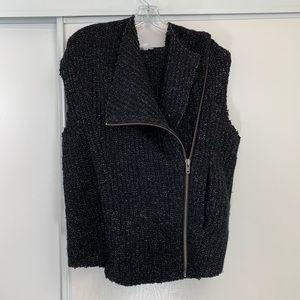 Helmut Lang Boiled Wool Hooded Vest Zip Up Jacket